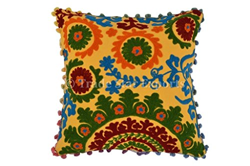 Pom Pom Cushion Covers 16x16, Suzani Pillow Covers, Bohemian Pillow Cases Decorative, Indian Cushions Pillow