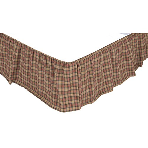 VHC Brands Primitive Cinnamon Cotton Split Corners Gathered Plaid King Bed Skirt, Natural Tan