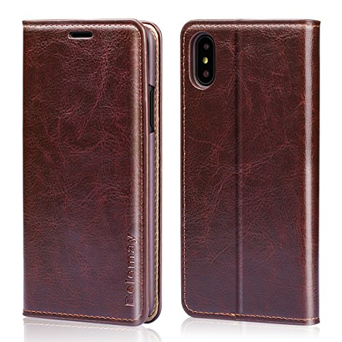 Belemay iPhone X Case, iPhone X Wallet Case, Genuine Cowhide Leather Wallet Case, Slim Fit Protective Flip Cover Folio Book Style, Card Holder Slots, Kickstand, Cash Pocket Fit for iPhone X, Brown