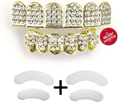ce83bb52c Gold Grillz Teeth Set New Custom Fit 14k Plated Gold Diamonds Grillz - All  Types of