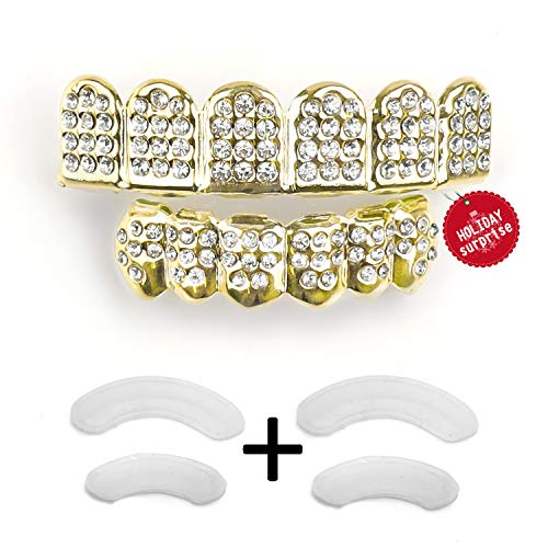 Gold Grillz Teeth Set Best Gift for Son-New Custom Fit 14k Plated Gold Diamonds Grillz - Excellent Cut for All Types of Teeth–6pcs Top and Bottom Grill Set - Hip Hop Bling Grillz