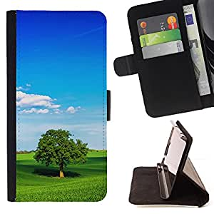 For HTC Desire 820,S-type Naturaleza Verde Trea- Dibujo PU billetera de cuero Funda Case Caso de la piel de la bolsa protectora