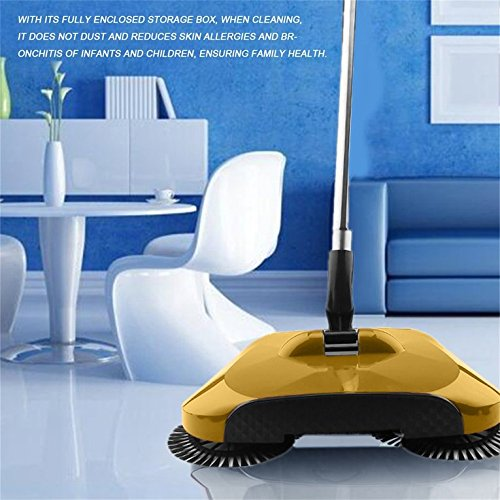 YaptheS Practical Hand Push Type Sweeping Machine Household Plastic Broom Dustpan Set Easy to Use