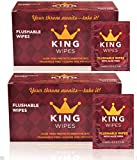 KING Flushable Wipes (2 boxes of 30) Fragrance Free Individually Wrapped Single Travel Wet Wipes with Aloe Vera & Vitamin E Septic Safe