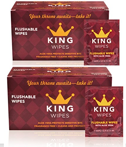 KING Flushable Fragrance Free On The Go Individually Wrapped Single Wipes with Aloe Vera, 2 Count