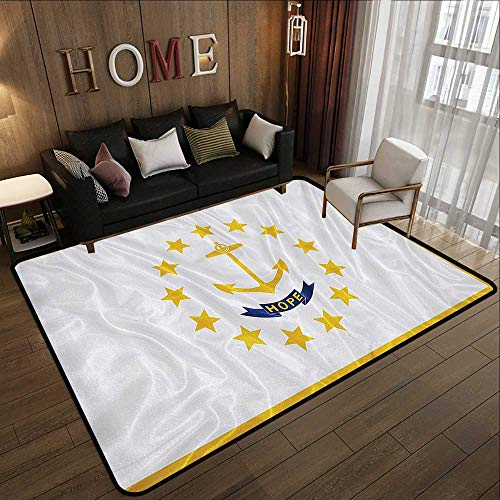 - Contemporary Synthetic Rug,American Decor Collection,Rhode Island Flag Gold Anchor Thirteen Stars Hope Ribbon Golden Edges Image Pattern,Yellow WHI 59