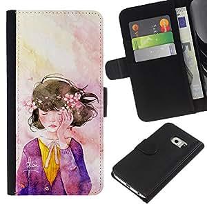 EJOY---La carpeta del tirón la caja de cuero de alta calidad de la PU Caso protector / Samsung Galaxy S6 EDGE / --Guirnalda del Arte de la acuarela púrpura