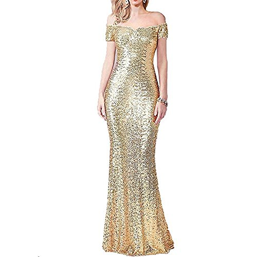 5b92e8944d55 Women s Off Shoulder Mermaid Sequin Evening Dress 2018 Long Prom ...