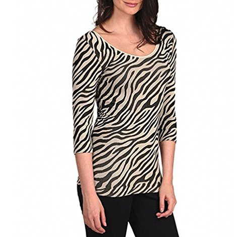 bebe Women's Animal Print Casual or Dressy 3/4 Sleeve Top In One Size (Cream Zebra) (Tops Zebra Print)