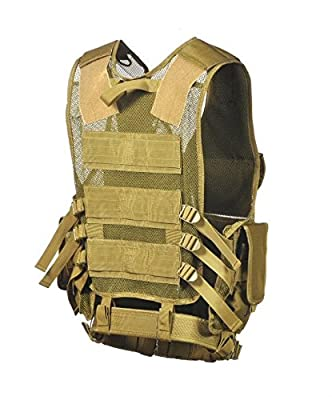Ultimate Arms Gear Tactical Scenario Dark Earth Tan Military-Hunting Assault Vest w/ Right Handed Quick Draw Pistol Holster