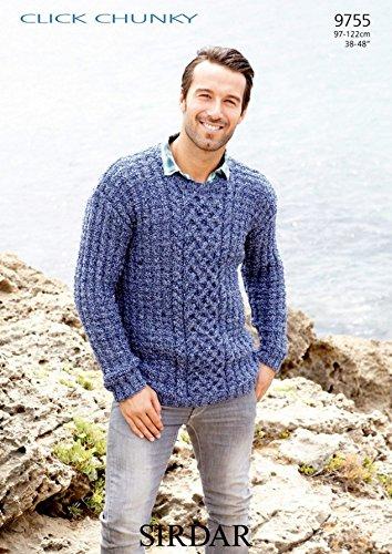 Sirdar Click Chunky - Sirdar Mens Sweater Click Knitting Pattern 9755 Chunky