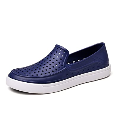 LTT3102shenlan44 EnllerviiD Men Slip On Waterproof Water Shoes Summer Casual Beach Pool Garden Shoes Dark Blue 10 D(M) US