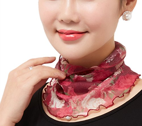 Long Collar Scarf - VIVOSKY Silk Scarf Mesh Grenadine Detachable Collar Gauze Scarf