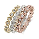 JanKuo Jewelry Tri Color Milgrain Edged Stackable Cubic Zirconia Eternity Band Rings (8)