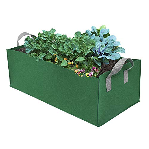 (WDDH Fabric Raised Planting Bed,Rectangle Breathable Planting Container Grow Bag Planter Pot for Herb Flower Vegetable (23.6inch11.8inch7.9inch, Green))