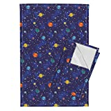 Space Planet Nerd Geek Solar System Star Astro Tea Towels Our Solar System (Small) by Robyriker Set of 2 Linen Cotton Tea Towels