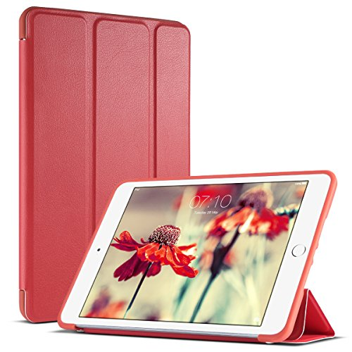 iPad Mini Case, iPad Mini 2 Case, iPad Mini 3 Case, ULAK PU Leather Trifold Stand Smart Case with Soft TPU Edge Corner Protection Cover Auto Wake Sleep Function for Apple iPad Mini 1/2/3 (Red)]()