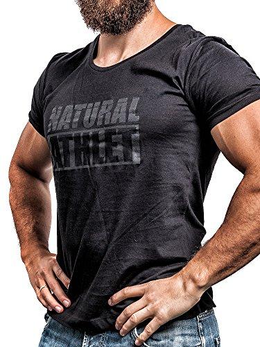 NATURAL ATHLET® T-Shirt Flavio Simonetti Herren 100% Baumwolle Schwarz sw/sw, Größe: L