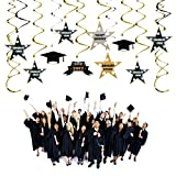 PBPBOX Graduation Decorations 30 Pcs 2017 Hanging Swirl and Celebration Card