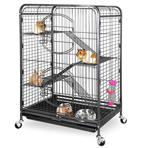 ZENY 37' Ferret Cage Rabbit Guinea Pig Chinchilla Rat Small Animal House 4 Levels (Black)