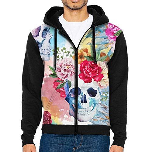 Rose Flora Sugar Skull Full-Zip Hoodie Lightweight Pullovers Hooded Active Sweatshirts Hoodies