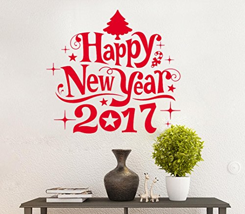 XILALU New Year 2017 Merry Christmas star tree Wall Sticker Removable Home Shop Windows Decals Decor (Red) (Duck Desk Humidifier compare prices)