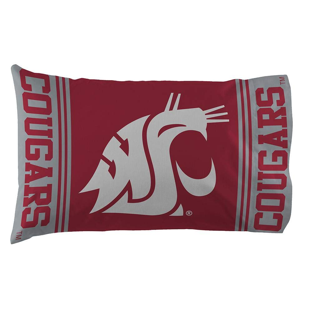 The Northwest Company Officially Licensed NCAA Washington State Cougars Pillowcase Set Red 20 x 30