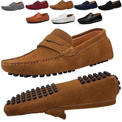 JIONS Men's Driving Penny Loafers Suede Driver Moccasins Slip On Flats Casual Dress Boat Shoes Khaki 10.5 D(M) US/EU 45