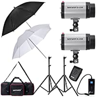 Neewer® 500W Photo Studio Strobe Flash Light Umbrella Lighting Kit with Carrying Bag for Portrait,Product Photography and Video Shoots(250DI)