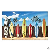 Artswow Entrance Floor Mat Custom Doormat Hawaii Surfboard Door Mat with Non Slip Rubber Backing Decorative Indoor Outdoor Door Mat, 23.6 by 15.7 Inch