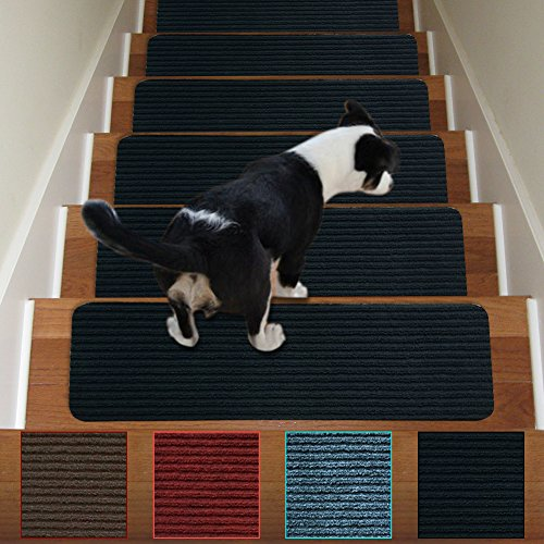 (Stair Treads Non-Slip Carpet Indoor Set of 3 Black Carpet Stair Tread Treads Stair Rugs Mats Rubber Backing (30 x 8 inch),(Black, Set of 3))