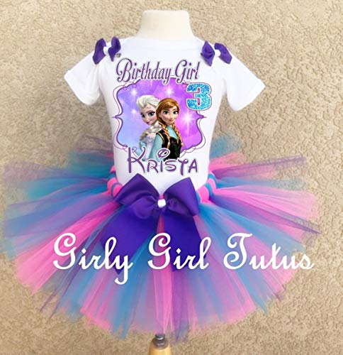 Frozen Elsa and Anna Birthday Tutu Outfit Set ()