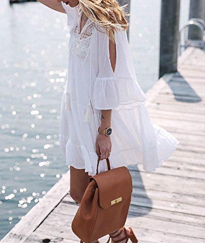 cb2f10bee90 Sanifer Women Summer Beach Cover Up Dresses White Crochet Swimsuit ...