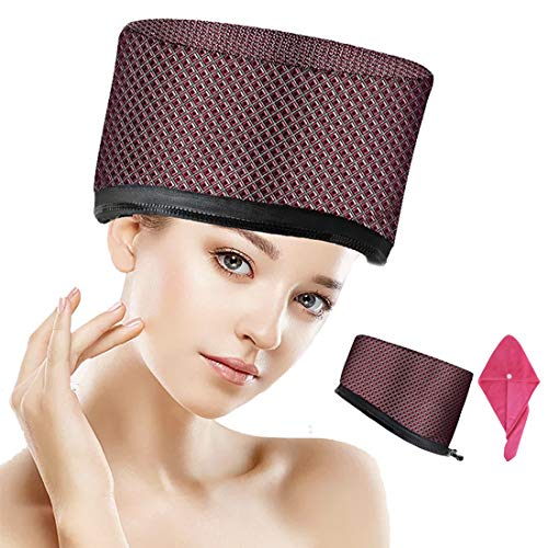 110V Hair Care Hat,Hair SPA Cap,Hair Care Steamer Cap,Thermal Hair Cap,Waterproof Home Hair Thermal Care Electric Hair Treatment Beauty Steamer Perfect for Family Personal Care (Leather Plaid)