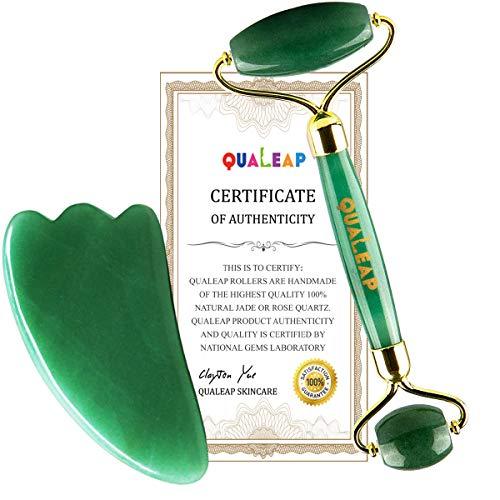 Original Jade Roller for Face 2 in 1 Gua Sha Tools Including Face Roller and Jade Face Massager Rose Quartz Roller Alternative Jade Facial Roller Face Roller Massager