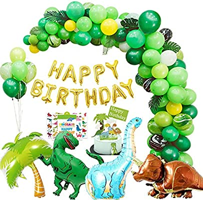 Dinosaur Party Supplies kit - 10 pcs for Birthday Decorations Garland &  Arch Kit Dino Party Decorations for kids dinosaur party favors balloons