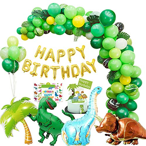 Dinosaur Party Supplies kit - 214 pcs for Birthday Decorations Garland & Arch Kit Dino Party Decorations for kids dinosaur party favors balloons Dinosaur Cake Topper jungle Latex Balloons with tattoo