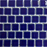 Fujiwa Porcelain Swimming Pool Waterline Tile - PEB-193 COBALT BLUE 1'' X 1'' 1.08 SQ FT Sheet, Pack of 2,