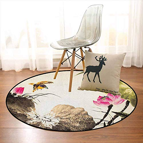 Art Super Soft Round Home Carpet Bird Jumping into a Lotus in a Gloomy Setting Circle of Life Chinese Culture for Sofa Living Room D39.7 Inch Cream Taupe Hot -