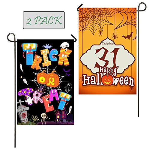 Ueerdand 2 Pack Happy Halloween Trick OR Treat Garden Flag, Double Sided Premium Burlap Fabric, Seasonal Pumpkin Candy Style Outdoor Decoration Banner for Yard Lawn 12 by 18 Inch