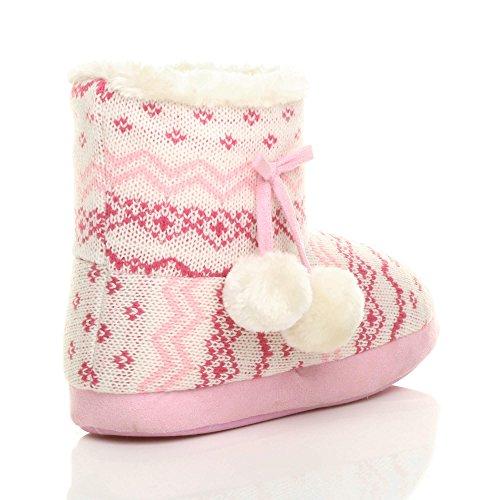 Ajvani Fairisle invierno punto pom botines botas tobillo piel forrada pom tamaño para zapatilla comodidad rosa mujer de arqnxFRUEa