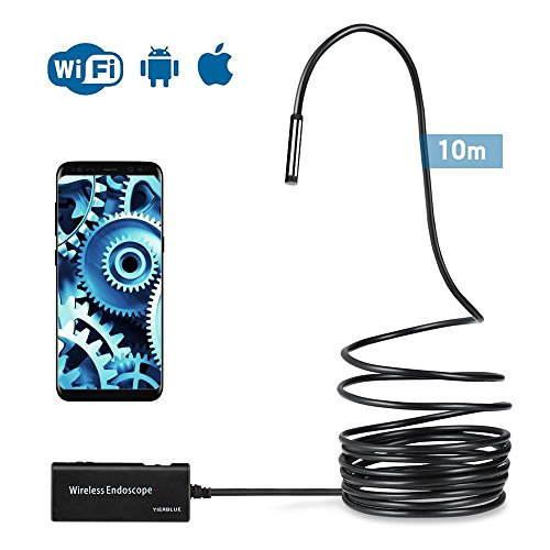 YIERBLUE Wireless Endoscope, 10M Black Semi-Rigid WiFi Borescope Inspection Camera 2.0 Megapixels HD Snake Camera for Android and iOS Smartphone, iPhone, Samsung, Tablet by YIERBLUE