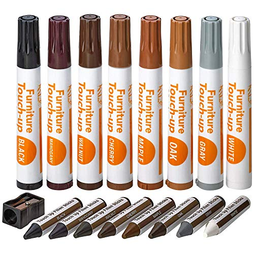(Katzco Furniture Repair Kit Wood Markers - Set Of 17 - Markers & Wax Sticks With Sharpener, For Stains, Scratches, Floors, Tables, Desks, Carpenters, Bedposts, Touch Ups, Cover Ups, Molding Repair)