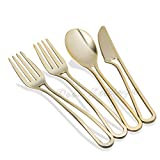 Posh Setting Modern Collection Heavyweight Polished Gold Plastic Cutlery 160 ...