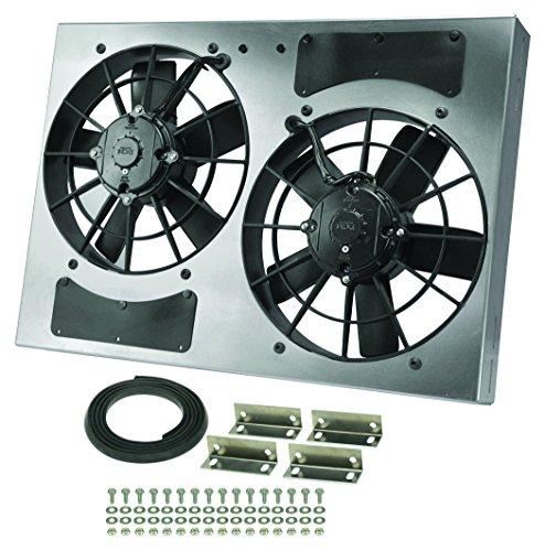 Motor Auto Cooling Fan Shroud (Derale Performance 16833 Gray/Black High Output Dual Radiator Fan)