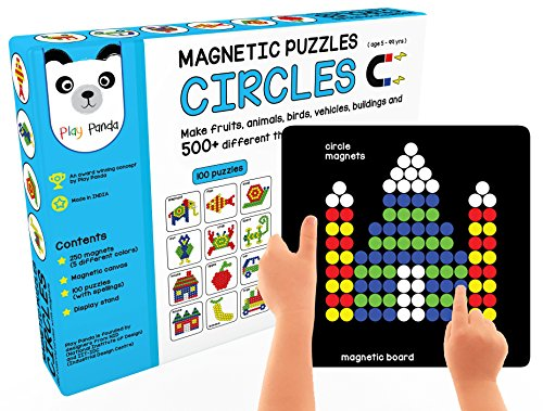 Play Panda Magnetic Puzzles Circles With 250 Magnets, Magnetic Board, Puzzle Book And Display Stand - Blue product image