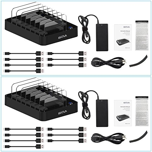 [2-Pack] Skiva StandCharger 7-Port 84W/16.8A Desktop USB Fast Charging Station Dock with '28 units of Short (0.5ft) microUSB Cables' for Samsung, Smart Phones, Tablets, Wearables & more [Model:AC127] by SKIVA (Image #7)