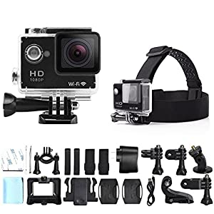 eXuby X1000 12 MP Action Camera with 2-Inch Display, Wide 170° Angle Lens, WiFi and Full HD 1080P Bundle with Sport Accessory Kit (18 Items)