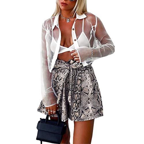 - Weigou Women Shorts Elastic High Waist Snakeskin Print Shorts Drawstring Summer Lace Up Bowknot Mini Pants (Khaki, M)