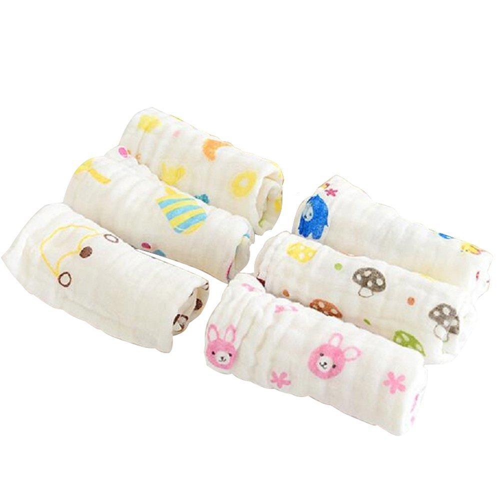 6-Pack bebé Toallitas, toallitas algodón orgánicos reutilizable, muselina cálido bebé toallas de baño con gancho 12 x 12 pulgadas extra suave para piel ...